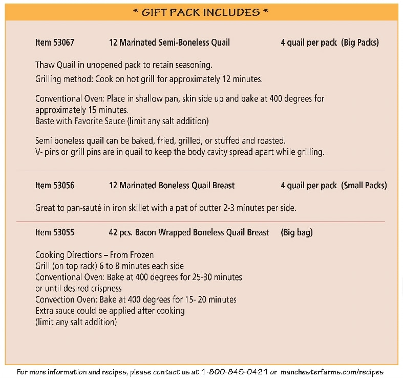 quail holiday gift pack details
