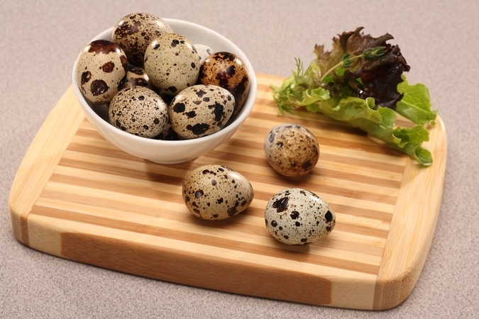 quail eggs in a bowl