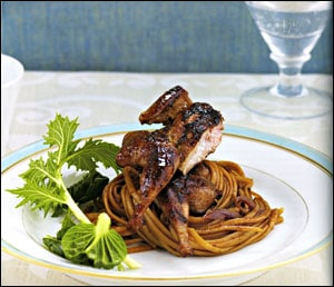 Wok-Seared Marinated Quail with Spicy Asian Noodles